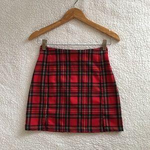 Brandy Melville red green yellow plaid Cara skirt